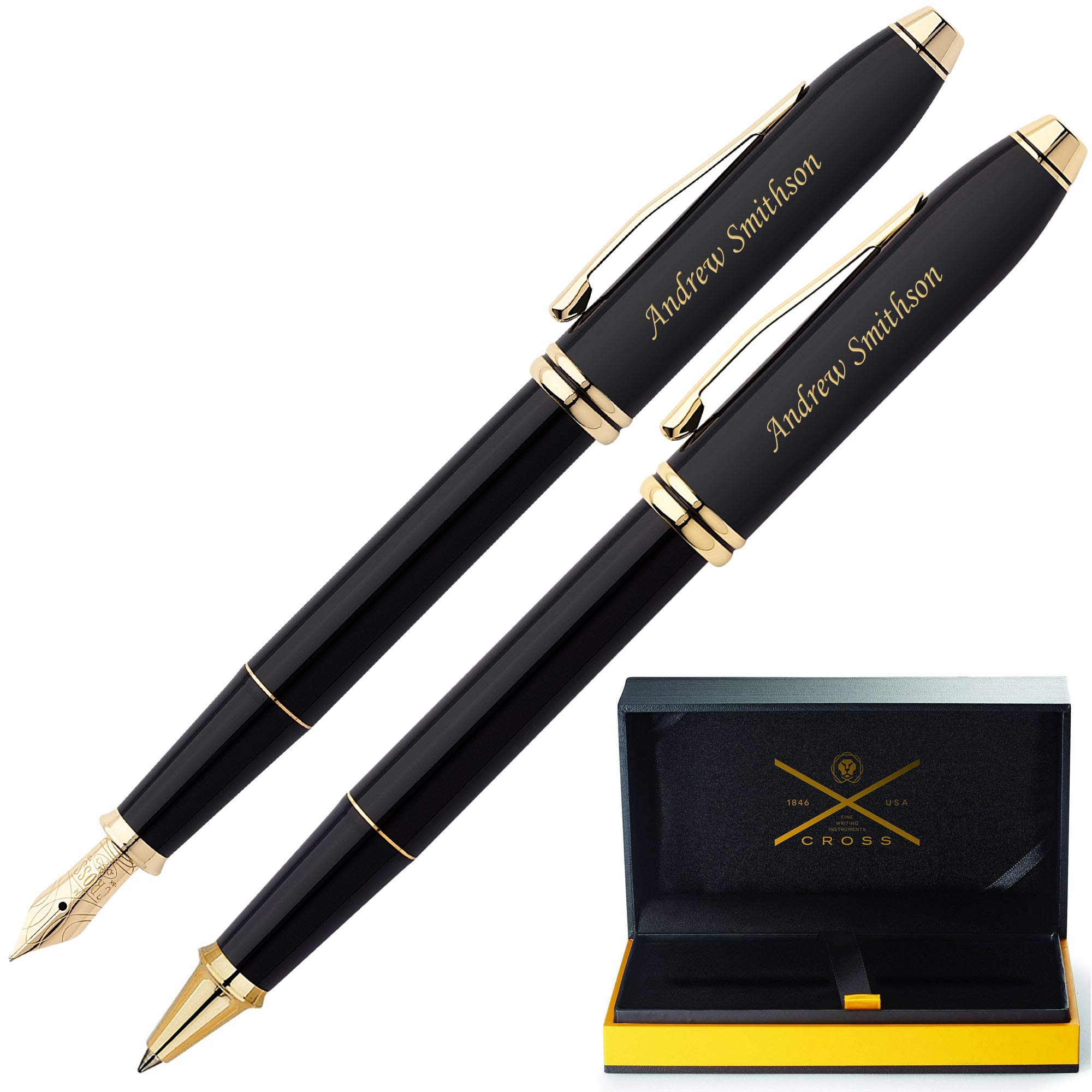 Cross Pen Set   Engraved/Personalized AT Cross Townsend Black with 23KT Gold Rollerball and Fountain Pen Gift Set. Custom Engraved Fast