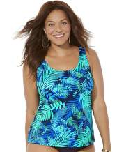 Swimsuits for All Women's Plus Size Green Palm Tankini Top
