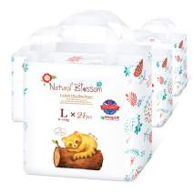 Natural Blossom - Disposable Hypoallergenic Easy Pull Up Pants Baby Diapers, Size 4(20-31lbs), 24pcs, 4 Packs, Count 96