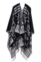 Timemory Womens Printed Tassel Open front Poncho Cape Cardigan Wrap Shawl