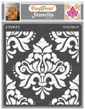CrafTreat Damask Mandala Stencils for Painting on Wood, Canvas, Paper, Fabric, Floor, Wall and Tile - Bold Damask - 6x6 Inches - Reusable DIY Art and Craft Stencils - Damask Stencil