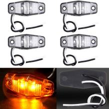 cciyu 4 Pack 2 Diode Clear/Amber LED Light Universal Mount Clearance Side Marker Trailer