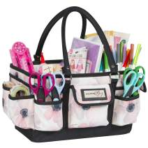 Everything Mary White Flower Deluxe Store and Tote - Storage Craft Bag Organizer for Crafts, Sewing, Paper, Art, Desk, Canvas, Supplies Storage Organization with Handles for Travel