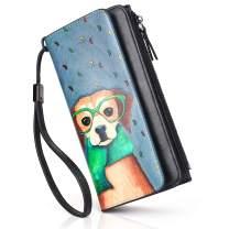 APHISON Womens RFID Blocking Wallet Card Holder Zipper Purse Wristlet Wallet for Women 2810(012-A)