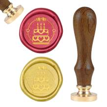 PH PandaHall Birthday Cake Wax Seal Stamp Vintage Retro Birthday Theme Sealing Stamp with Wood Handle for Letter Envelope Invitation Birthday Wine Packages Embellishment Gift Decoration