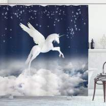 """Ambesonne Fantasy Shower Curtain, Unicorn Flying Over Clouds Novelty and Purity Magic Creature Image, Cloth Fabric Bathroom Decor Set with Hooks, 70"""" Long, White Blue"""