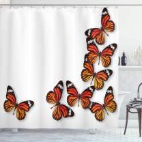 """Ambesonne Butterflies Shower Curtain, Monarch Butterfly Flying Frame Insect Exotic Weather, Cloth Fabric Bathroom Decor Set with Hooks, 75"""" Long, Dark Brown"""