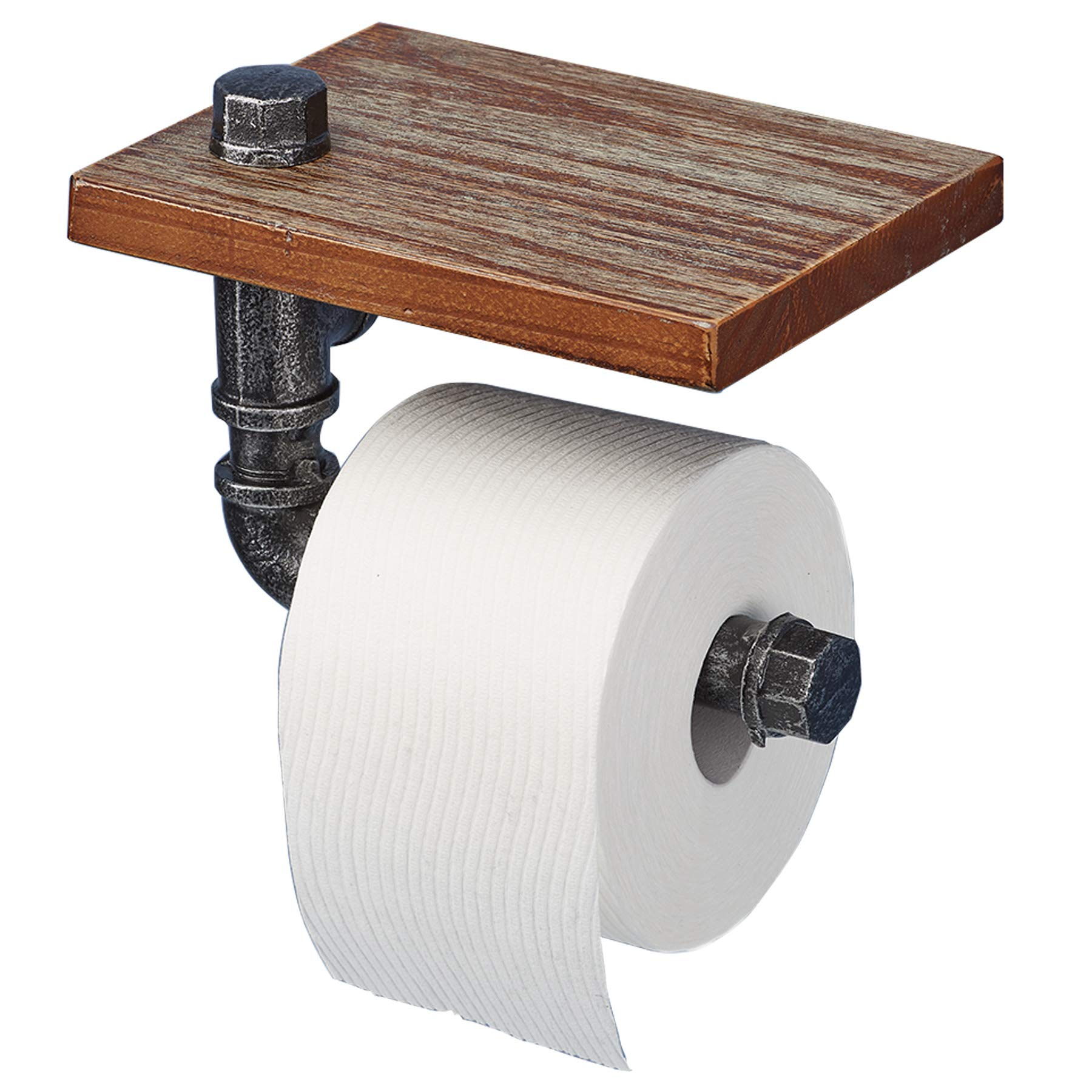 """Barnyard Designs Industrial Wall Mounted Toilet Paper Holder with Shelf - Rustic Vintage Decorative Toilet Roll Holder with Shelf 8"""" x 6"""""""