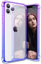SANKMI iPhone 11 pro max Case, Clear Gradient Cute Protective Durable Phone Case iPhone 11 pro max Case Non Scratch Reinforced with TPU Crystal PC Back for 6.5 iPhone 11 pro max Cases (Blue Purple)
