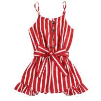 Valentine's Day Kids Girls Sling Romper Baby Striped Jumpsuit Ruffle Strap Halter One-Piece Button Clothes with Waistband