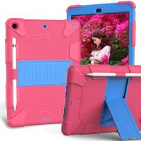 iPad 10.2 Case 2019, CASZONE 3 Layer Heavy Duty Rugged Shockproof Anti-Slip Silicone Protective Cover for New iPad 7th Generation 10.2 inch with Pencil Holder/Kickstand, for Kids/Students- Rose+Blue