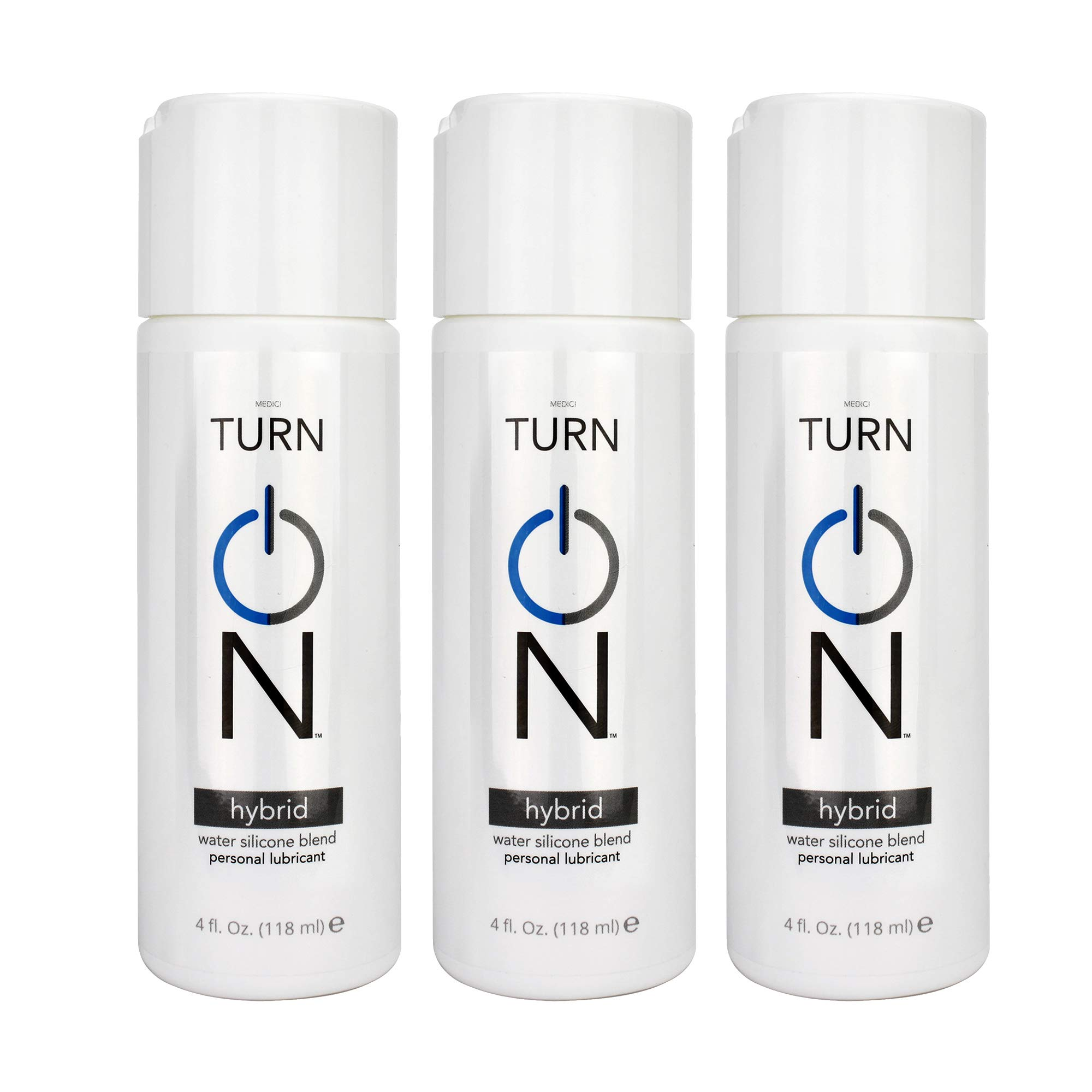 Turn On Water Silicone Blend Hybrid Personal Lubricant, 4 oz (3 Pack)
