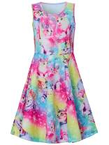 BFUSTYLE Girl Print Dress, Sleeveless Casual Floral Sundress for Girls 4-13 Years