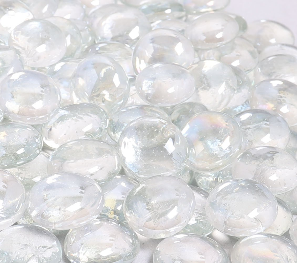 KIBOW 10-Pound Pack Fire Glass Beads for Gas Fire Pit, 3/4 Inch-Clear Color
