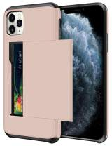 SAMONPOW Wallet Case for iPhone 11 Pro Case with Card Holder Protective Case Dual Layer Shockproof Hard PC Soft Hybrid Rubber Anti Scratch Case for iPhone 11 Pro 5.8 inch (Light Pink)