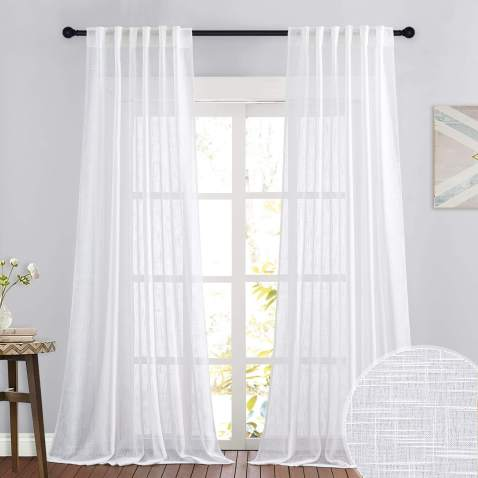 Ryb Home Linen Sheer Curtains For, Curtains 108 Inch Length
