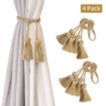 BEL AVENIR 4 Pack Curtain Tiebacks Handmade Decorative Curtain Holdbacks Rope with Tassel- Gold