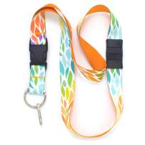 Buttonsmith Color Leaves Breakaway Lanyard - with Buckle and Flat Ring - Made in The USA