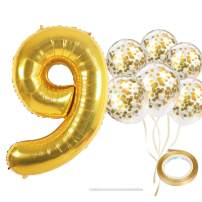 "40"" Number 9 Gold Balloon and Gold Confetti Balloons,Foil Mylar Gold Balloons Party Supplies for 9st Birthday Party,Wedding,Engagement,Anniversary Party(Gold Number 9)"