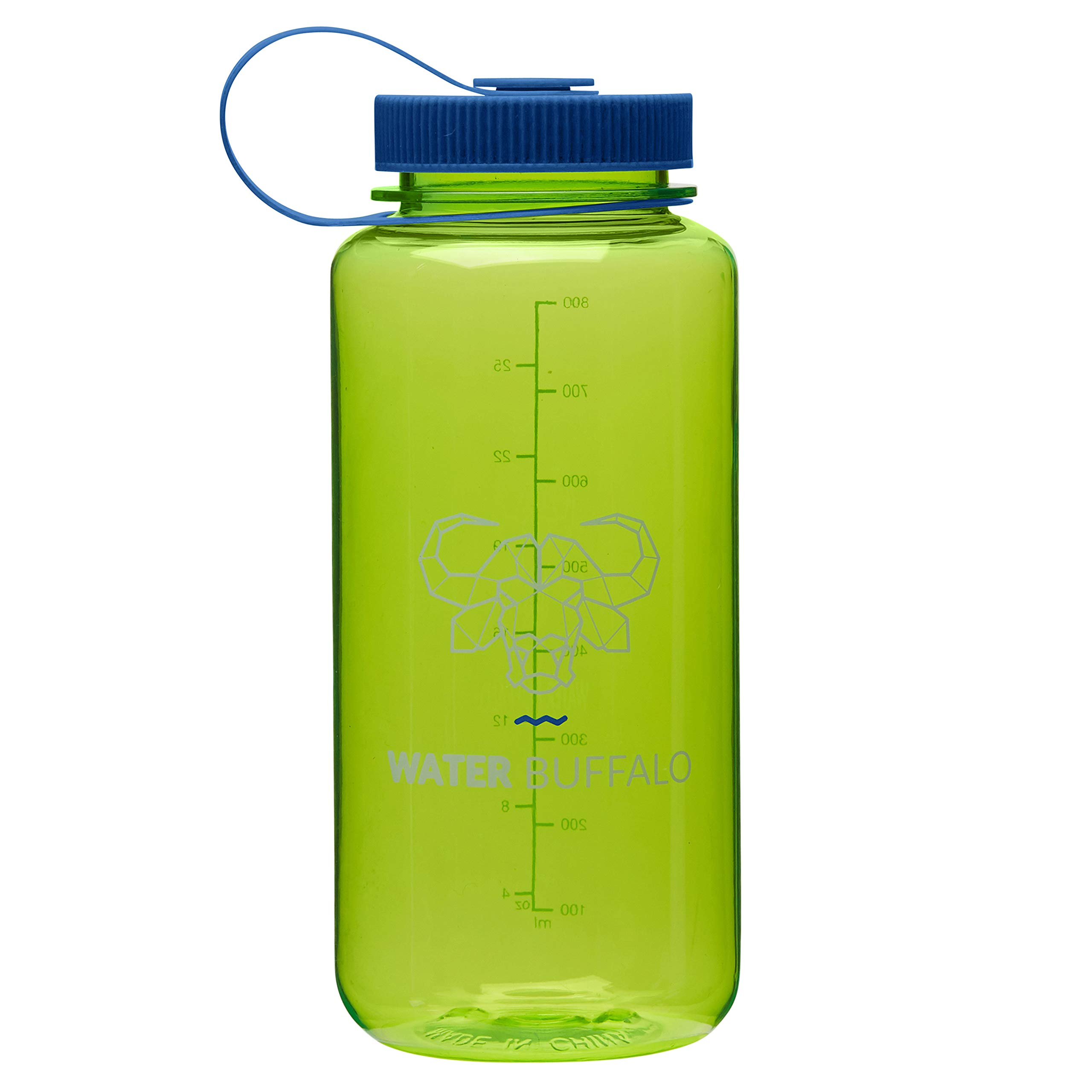 Water Buffalo Eco Friendly Water Bottle – Widemouth Tritan BPA Free Water Bottle 32 Ounce - Small Water Bottle with Measurements for Every Day Use, and Non-Toxic Hydration (Lime-Green/Blue)