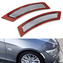 iJDMTOY White/Clear Lens Front Bumper Side Markers Compatible With 2007-2012 BMW E92/E93 3 Series Coupe 328i 335i, Replace OEM Amber Reflector Assy