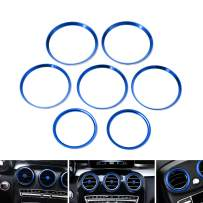 iJDMTOY 7pc Sports Blue Aluminum Air Conditioner Vent/Opening Outer Trim Decoration Covers Compatible With 2015-up Mercedes W205 C180 C250 C300 C350 C400 C63 AMG, 2016-up GLC Class, etc