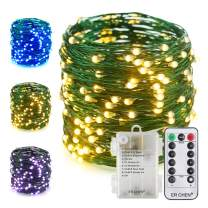 ER CHEN Color Changing Battery Operated Fairy String Lights with Remote Timer, 66Ft 200 LED 8 Modes Green Copper Wire Waterproof Christmas Lights for Bedroom, Patio, Garden, Yard (Warm White & Blue)