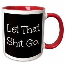 3dRose Let That Shit Go Letters Background Mug, 11 oz, Black/White/Red