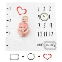 Prazoli White Baby Milestone Blanket Unisex - Baby Month Blanket Gender Neutral