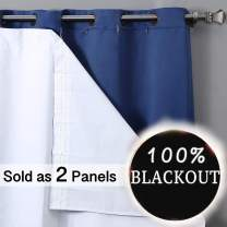 Rose Home Fashion 100% Blackout Curtain Liner Thermal Insulated White Liner, Black Out Liner, Room Darkening (Hook Included)-2 Panels, 47x60 White
