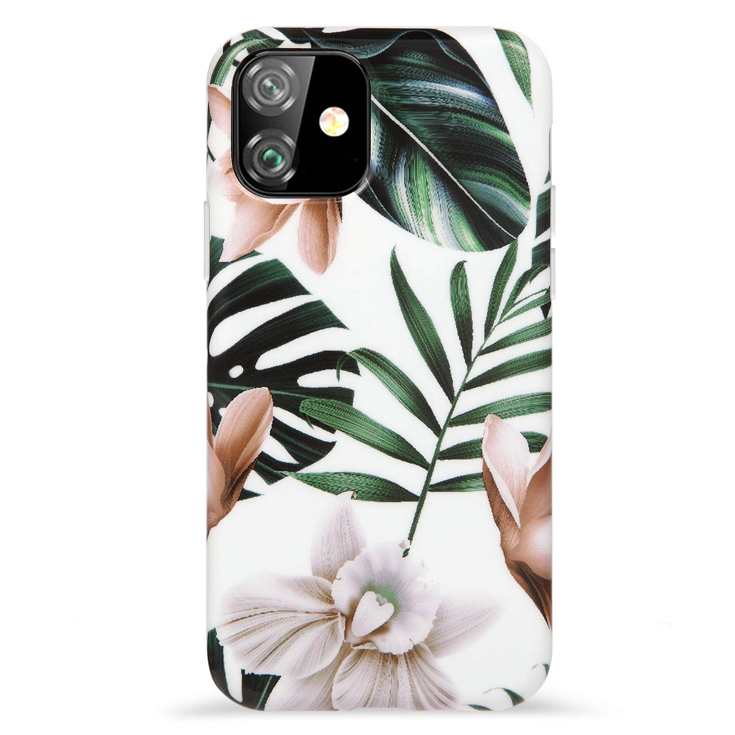 """Reejax iPhone 11 Case 6.1 inch Case with Glass Screen Protector,Flower Leaf for Girls Women Best Protective Slim Fit Clear Bumper Glossy TPU Soft Silicon Cover Phone Case for iPhone 11 Case 6.1"""""""