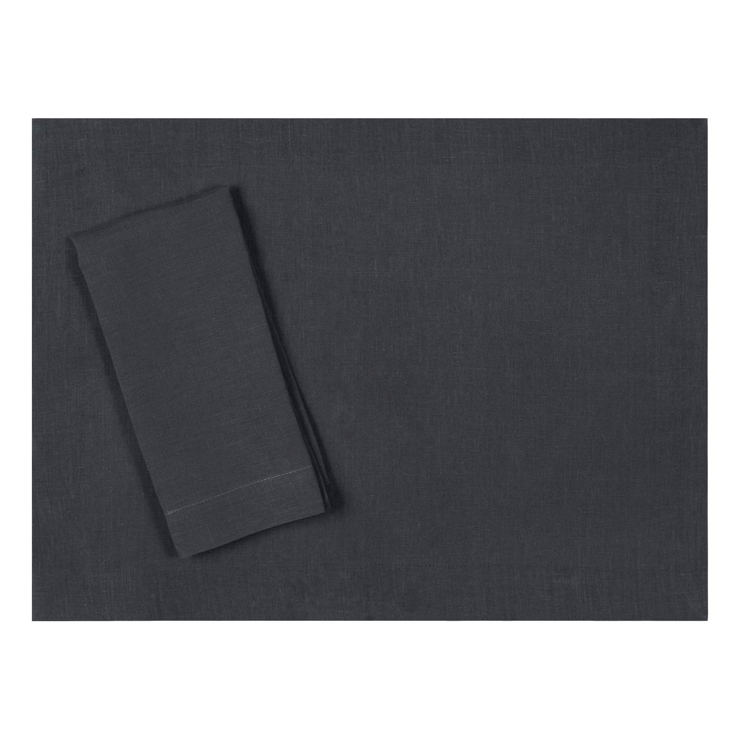 Huddleson Slate Charcoal Grey Pure Linen Placemat 15x20 (Set of Four)