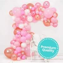 Junibel Balloon Arch & Garland Kit | Pink, Blush, Rose Gold & White Sm - Xlrge balloons | Glue Dots | 17' Decorating Strip | Wedding, Baby Shower, Graduation, Anniversary Bachelorette Party Decoration