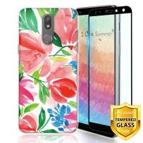 TJS Phone Case for LG K40/K12 Plus/X4/Solo LTE/Harmony 3/Xpression Plus 2, with [Full Coverage Tempered Glass Screen Protector] TPU Matte Color Design Transparent Clear Soft Skin (Tulip)
