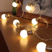 Indoor Fairy Lights – Frosted Min Globe - Battery Powered - Timer Function - 10 Warm White LEDs – 4.9ft