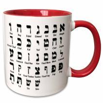 3dRose Print Of The Hebrew Alphabet Ceramic Mug, 11 oz, Red