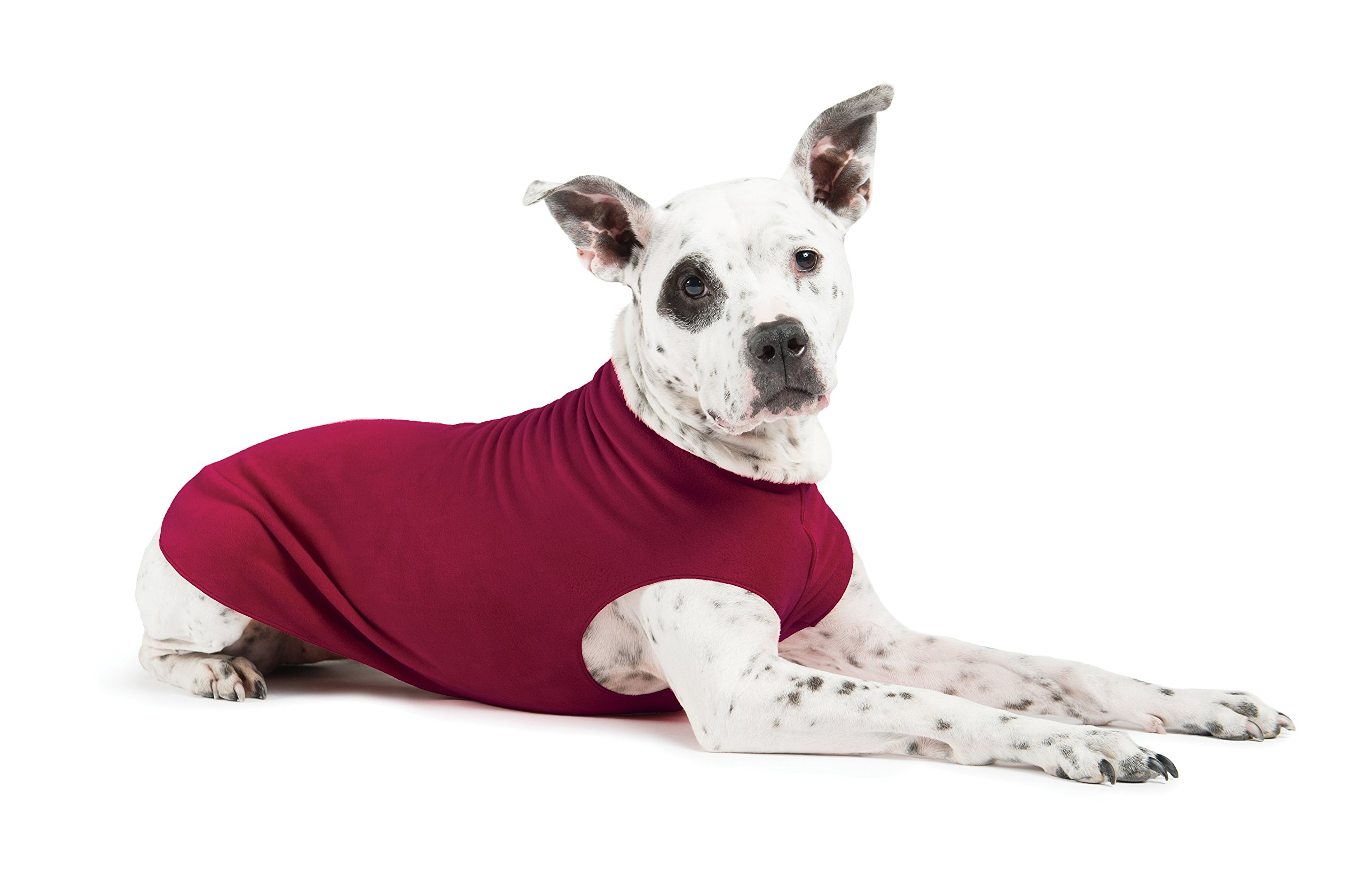 Gold Paw Stretch Fleece Dog Coat – Soft, Warm Dog Clothes, Stretchy Pet Sweater – Machine Washable, Eco Friendly – All Season, Garnet, Size 4
