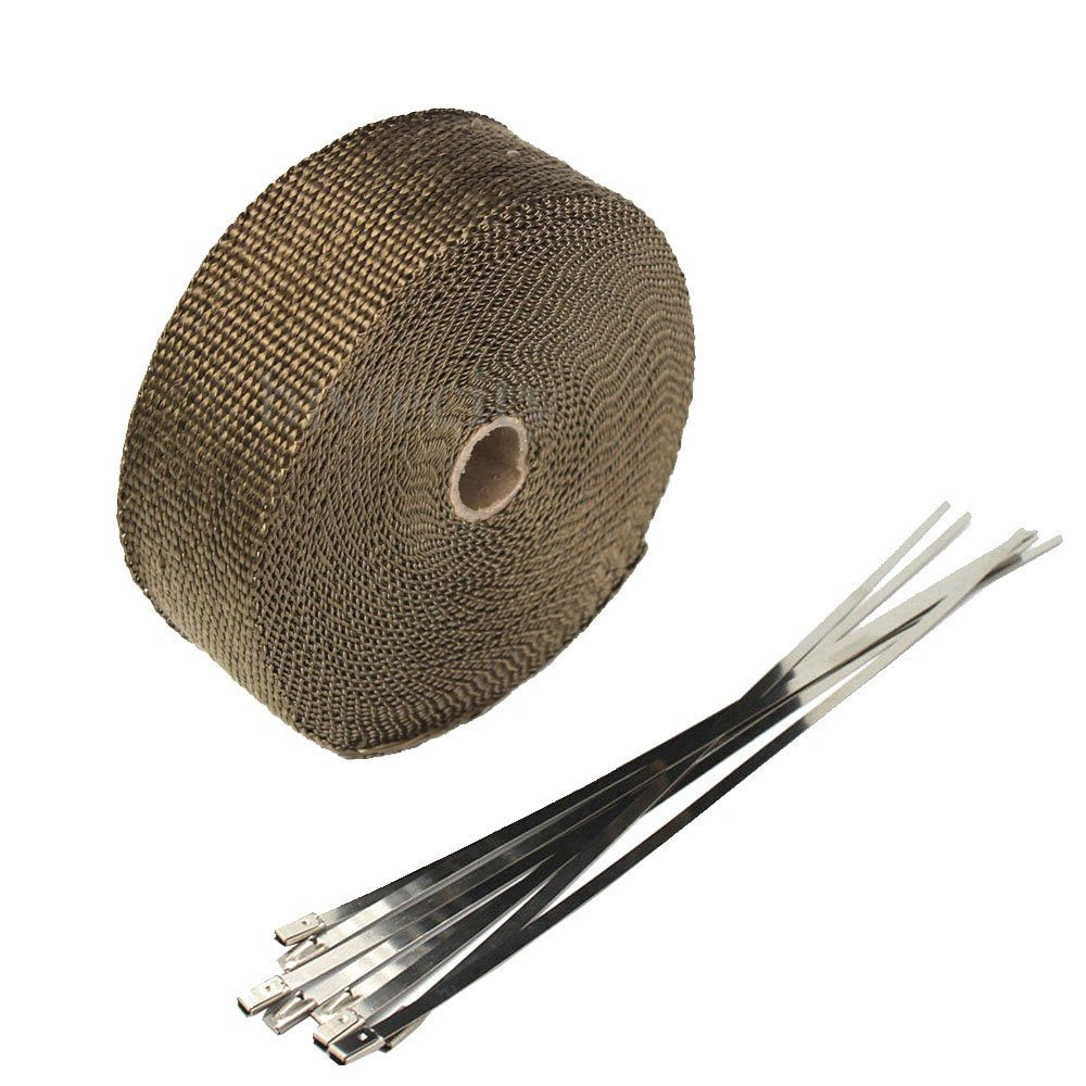 """ESUPPORT 1"""" X 50' Fiberglass Roll Titanium Lava Racing Exhaust Header Pipe Wrap Heat Shield Tape 6 Stainless Steel Ties Car Motorcycle"""