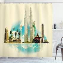 """Ambesonne Landscape Shower Curtain, East Kuala Lumpur Cityscape Buildings Palms Tropical Country Image Art, Cloth Fabric Bathroom Decor Set with Hooks, 84"""" Long Extra, Grey Blue"""