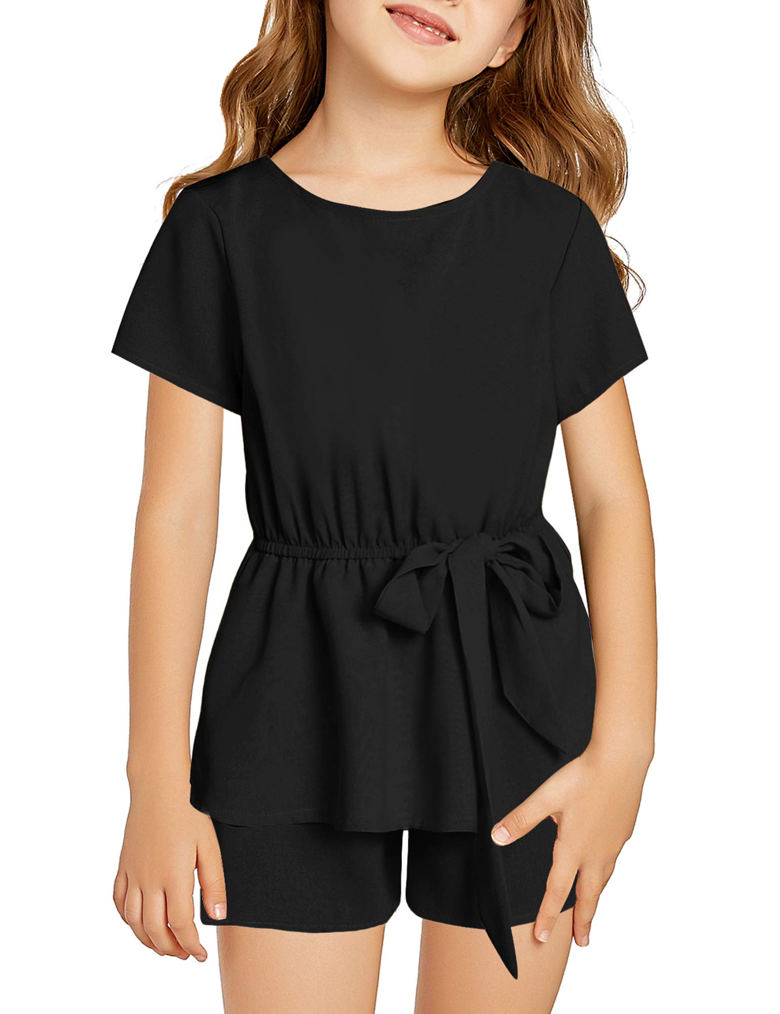 Utyful Girl's Casual Round Neck Short Sleeve Layered One Piece Romper Jumpsuit 4-11 Years