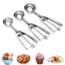 Cookie Scoop, 3Pcs Cookie Scooper Set with Large/Medium/Small Cookie Scoop, Stainless Steel Ice Cream Scoop for Baking, Ice Cream Scooper with Trigger Release to Easily Use, Cookie Scoops Set of 3