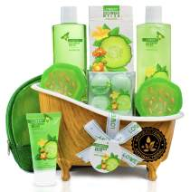 Mother's Day Gifts - Home Spa Bath Basket Gift Set - Natural Cucumber Melon Antibacterial Hand Soaps - Aromatherapy Kit for Men & Women - 12 Piece Skin Care Set - 2 Organic Melon Soaps, Lotion & More