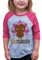 7 ate 9 Apparel Baby Girl's Little Turkey Thanksgiving Pink Raglan