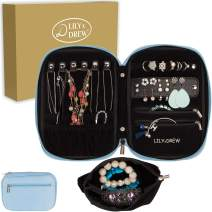 Lily & Drew Travel Jewelry Storage Carrying Case Jewelry Organizer with Removable Pouch, in Gift Box (V1B Light Blue)
