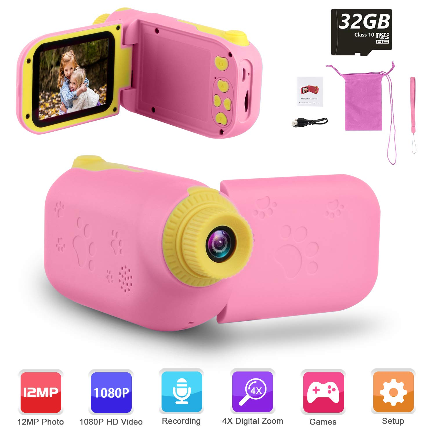 """GKTZ Video Camera Camcorder Digital for Kids, Children's Toys DV Cameras Recorder with 2.4"""" 1080P FHD Screen for Age 3 -10 Year Old Boys Girls Birthday Gifts ,Including 32GB SD Card - Pink"""