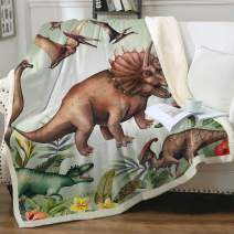 "Sleepwish Sherpa Throw Blanket for Couch Sofa and Chair, Boys Dinosaur Blankets and Throws Super Soft Reversible Cozy and Plush (Green Jungle,Twin 60""x80"")"