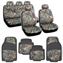 BDK Hunting Camo Gray Forest Seat Cover & Camouflage 4 Piece All Weather Waterproof Rubber Car Floor Mats