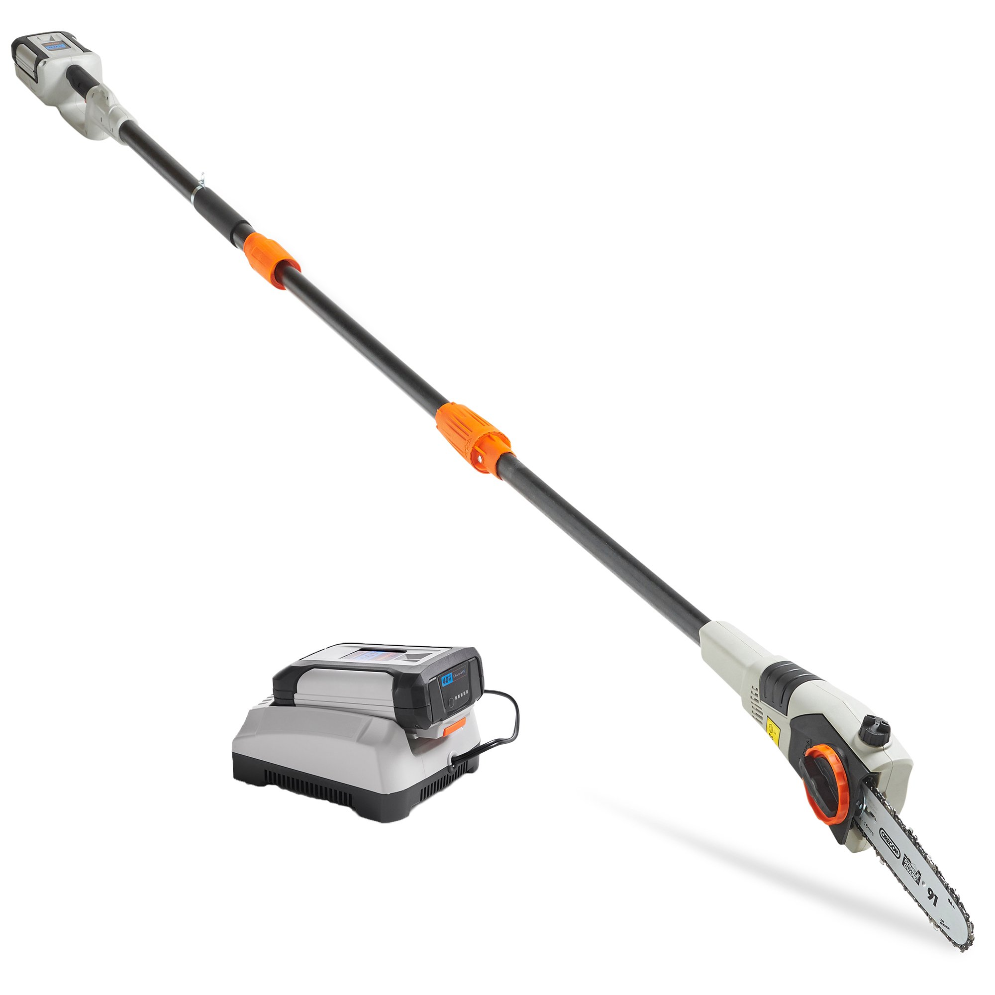 """VonHaus 40V Max 8"""" Cordless Pole Saw with Telescopic Pole for Cutting Branches - 4.0Ah Lithium-Ion Battery and Charger Kit Included"""