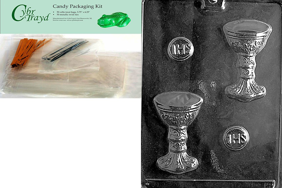 Cybrtrayd Host/Chalice Chocolate Candy Mold with Chocolate Packaging Bundle, Includes 50 Cello Bags, 50 Gold/Silver Twist Ties and Exclusive Cybrtrayd Copyrighted Chocolate Molding Instructions