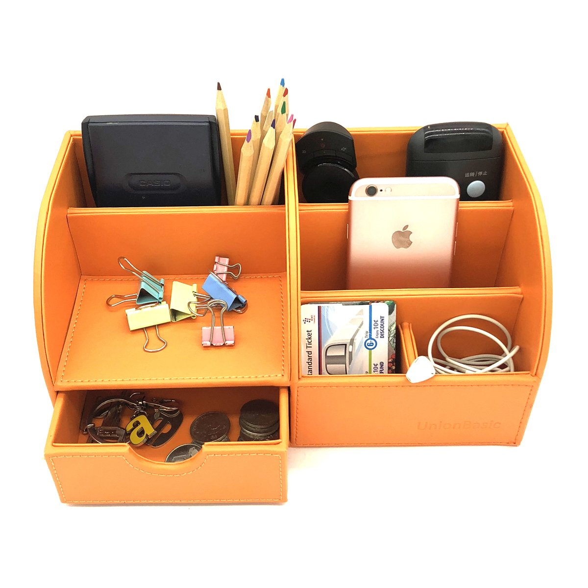 UnionBasic Office Desk Organizer - Multifunctional PU Leather Desktop Storage Box - Business Card/Pen/Pencil/Mobile Phone/Stationery Holder (Orange)